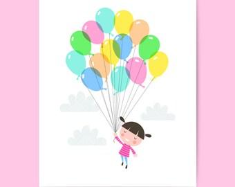 Nursery art print, baby girls balloon print, nursery print, balloon nursery art, girls bedroom, baby girl, kids room, nursery decor