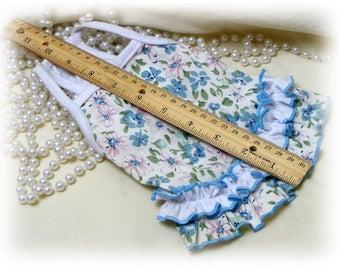 Handmade (XSMALL) DOG DRESS . . Doggie Sundress . . Adorable Blue Floral