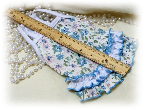 Handmade (XSMALL) DOG DRESS . . Doggie Sundress . . Adorable Blue Floral . . . (Custom Clothes Orders Welcome)