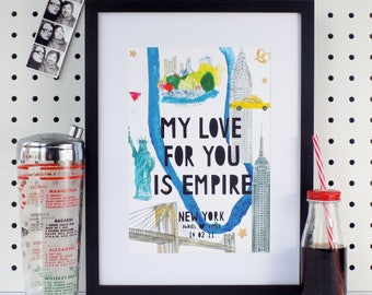 Personalised New York Paper cut Print, New York Print, New York Landmarks, New York Art, New York Engagement Gift, Illustrated New York Map