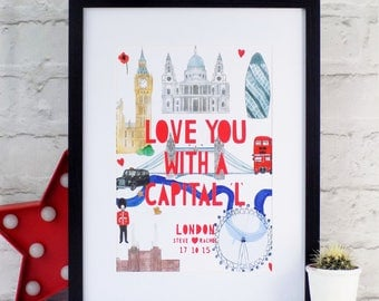 Personalised London Paper cut Print, London Print, London Landmarks, London Art, London Paper cut, Engagement Gift, Illustrated London Map