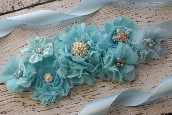 Maternity Sash, Baby blue ocean Sash , beach sash, flower girl sash, flower Belt, maternity sash belt, blue sash