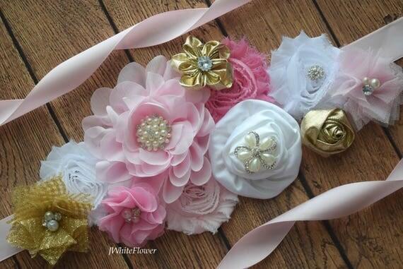 Flower Sash, pink gold and white Sash , flower Belt, maternity sash, flower girl sash, baby shower sash