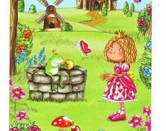 Princess & Prince Frog Castle Stickers Sheet
