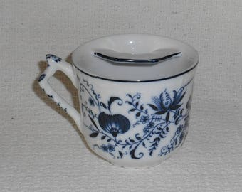 Vintage Porcelain Blue Onion Pattern Mustache Cup Blue and White China with Crossed Swords Mark