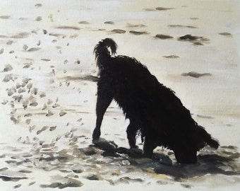 Dog Beach Painting Dog Art dog PRINT Dog Digging on Beach Art Print - from original painting by J Coates