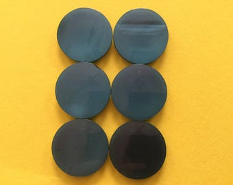 6 Vintage Plastic Buttons 1950's - Self Shanked Aqua
