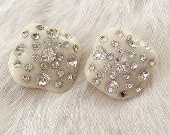 Unique Vintage Mid-Century Ivory Lucite and Rhinestone Statement Stud Earrings