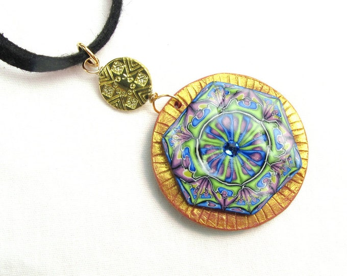 Handcrafted  Polymer Clay Pendant Necklace w Long Sueded Leather Wrap Around Strap