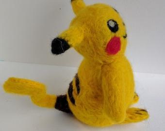 Pikachu - cute needlefelted Pokemon sculpture in wool