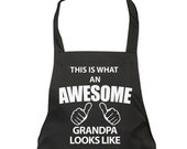 Grandpa Apron Awesome Grandpa Apron Mens Fathers Day Birthday Christmas Gift Idea