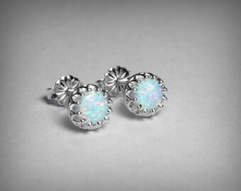 Opal Earrings, Sterling Silver, Simulated Opal Stud Earrings, October Birthstone Earrings, Imitation Opal Sterling Silver Stud Post Earrings