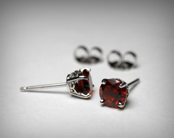 Garnet Earrings, 14K Genuine AAA Garnet Stud Earrings, 14K White Gold 14K Yellow Gold Studs, Garnet Jewelry January Birthstone Stud Earrings
