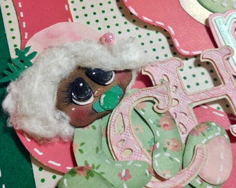 Baby's First Christmas Scrapbook Page; First Christmas, Holidays, Pink, Cranberry, Green, Holly Theme; 12X12; Paper Piecing Layout
