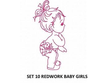 Set 10 Redwork Baby Girls  Machine Embroidery DESIGN NO. 130
