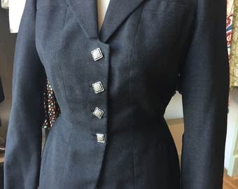 1940s charcoal fitted jacket