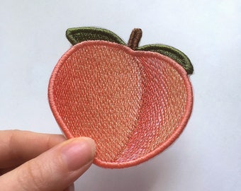 Peach Emoji patch. Embroidered.
