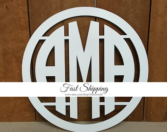 PAINTED Wooden Monogram - Circle Monogram - Monogram Door Hanger - Monogram Wall Hanging - Wedding Monogram - Nursery Monogram