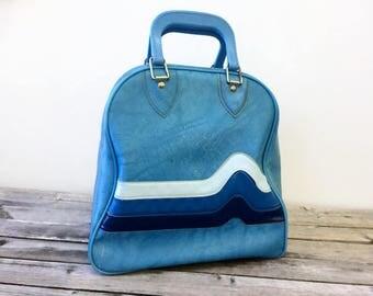 Vintage Bowling Bag, 3 Tone Blue Vinyl, Large Handbag or Diaper Bag, Repurposed