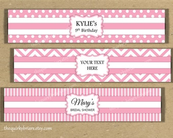Baby Pink Parisian / White Chevron / Polka Dots Stripes Prints / Water Bottle Labels Printable PDF / For Girls / Editable Instant Download