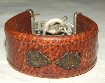Vintage Leather and Sterling Silver Cuff Bracelet with Gemstones, Religious Icon