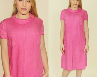 Vintage 1960s Pink Shift Mod Jackie O Dress Spring Linen 60s Retro Rolled Neck Chic Party Dress Medium Large