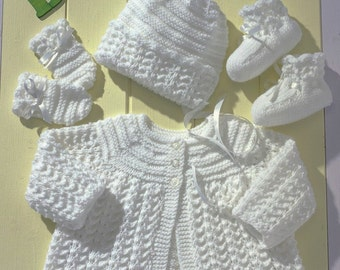 Knitting Pattern for Baby Matinee Jacket/coat, Booties, Mittens and Bonnet included 14 to 20 inch chest