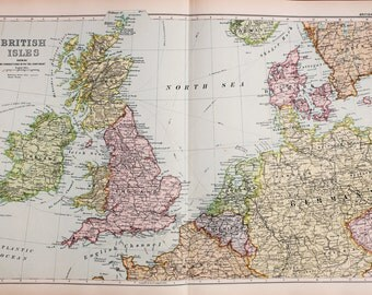 Antique Map : British Isles and North West Europe, Bacons c. 1901. Lovely Pastel Colours