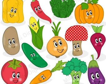 60% OFF SALE Vegetable clipart, veggie characters clipart, vector graphics, food clipart, digital clip art, commercial use - M455