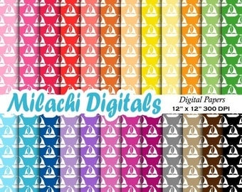 60% OFF SALE Boat digital paper, sailing scrapbook papers, nautical wallpaper, sail away background, birthday party - M512