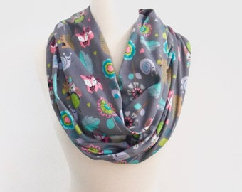 Woodland Animal scarf, Infinity scarf, Kids scarves, Women's, Tribal, Owl scarf, squirrel, fox, snail, Forest, Gray scarf, circle scarf