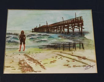 "Original Artwork Signed by Artist ""Daydreaming"" in NC, A Combination of Watercolors and Markers"