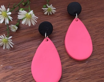 Matte Black and Blush Pink Clay Dangle Earrings