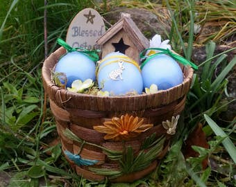 Ostara Basket, Easter basket, Ostara candles, Eoestre egg candles, Spring Equinox altar decor, decorative basket, pagan sabbat decor,