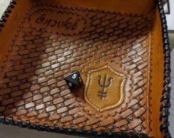 Handmade Genuine Leather Folding Dice Tray - Custom Designed