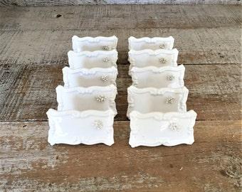 Place Cards Ceramic Place Cards 10 Vintage Porcelain Buffet Markers Dessert Labels Ceramic Reusable Place Cards Desesrt Table Wedding Decor