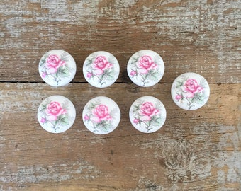 Drawer Knobs 7 Drawer Pulls Pink Rose Ceramic Drawer Pulls Dresser Knobs Flower Knobs Cabinet Drawer Pulls Cottage Chic Home Improvement