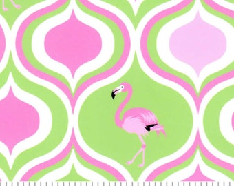 Fabirc Finders lime and hot pink flamingo fabric print #1879, flamingo fabric by the yard, hot pink flamingo print fabric, summer fabric