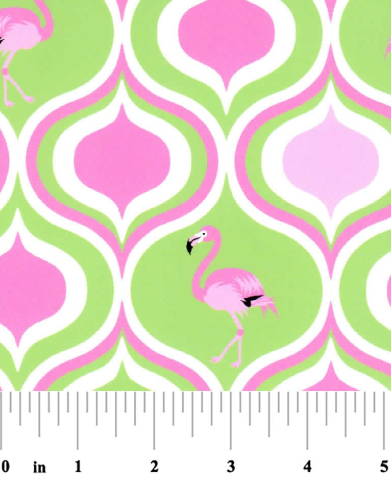 Fabirc Finders Lime And Hot Pink Flamingo Fabric Print 1879