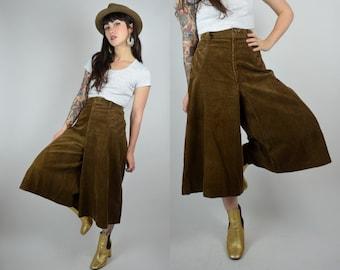 "Corduroy | 28"" | 1970s Brown Corduroy Culottes 70s Wide Leg Pants Vintage Cropped"