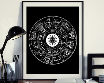 Printable Zodiac Astrology Zodiacal Circle Constellation Art Print Black Background Instant Download 8×10, 11x14 & 11x16 Wall Art HQ300dpi