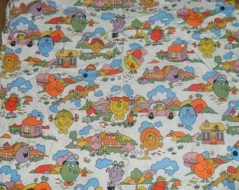 Rare Vintage Original mr Men Cotton Fabric