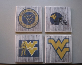 West Virginia University (Mountaineers) Themed Ceramic Tile Coasters - Set of 4