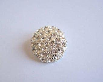 "diamante button 2"" diameter, metal sparkle button"