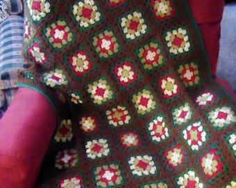 New Granny Square Chair Lap Afghan Blanket Throw 34 x 48 in. (#01)
