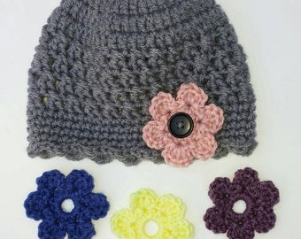Cloche Hat with Interchangeable Flowers