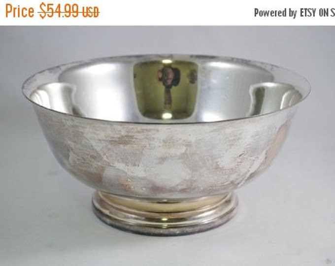 Storewide 25% Off SALE Vintage Silver Gorahm Electronic Plated Reproduction Paul Revere Centerpiece Fruit Bowl Featuring Sleek Styled Finish