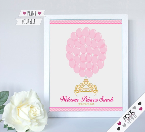 Tiara crown sign in guests printable pdf princess baby shower il570xn solutioingenieria Choice Image