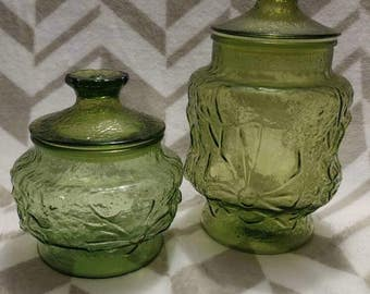Beautiful 70's Anchor Hocking Green Glass Rain Flower Canister Set