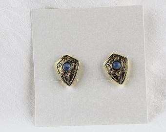Vintage Gold Shield Style Clip Back Earrings, JW250